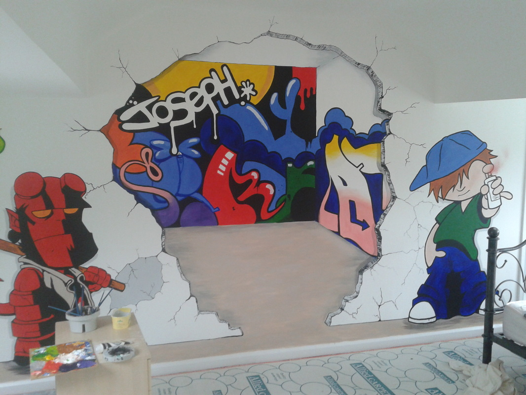 Graffiti wall art bedroom - Hand Painted Murals Hand Painted Canvases Murals Wall Art Middlesbrough Home