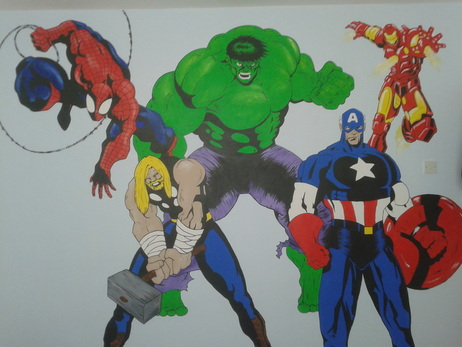 Spiderman and the Avengers hand painted wall mural