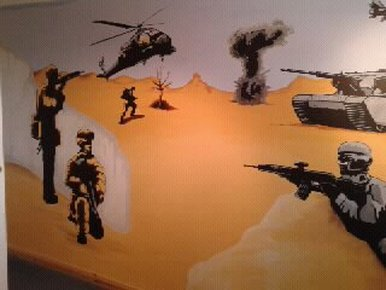 Army wall mural hand painted murals hand painted for Call for mural artists 2014